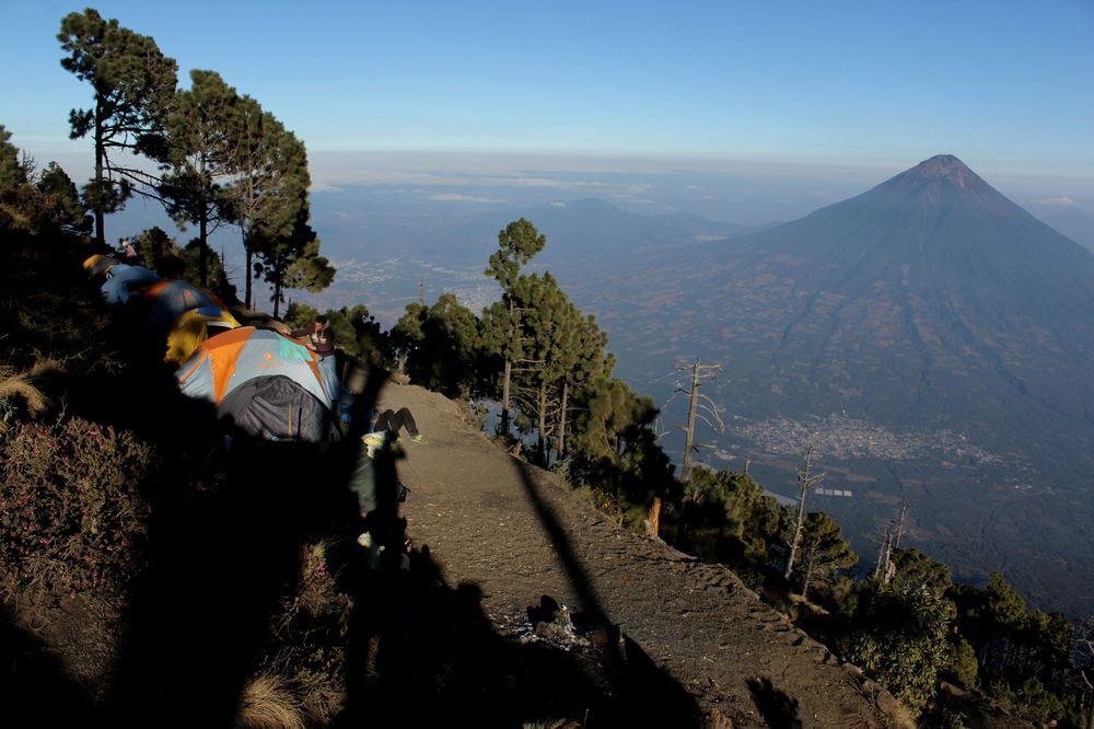Notre campement pour la nuit, Volcan Acatenango, Antigua, Guatemala