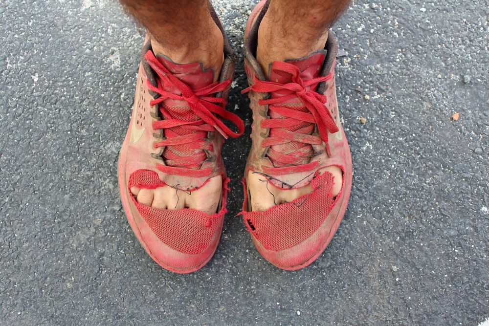 Les chaussures Frankenstein, après 1 an de voyage elles n'ont plus la même allure