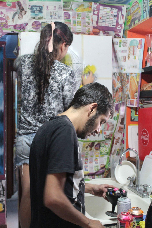 Santiago et une artiste, Cali, Valle de Cauca, Colombie