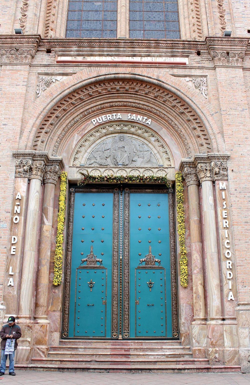 Porte de la cathédrale de Cuenca, Azuay, Equateur