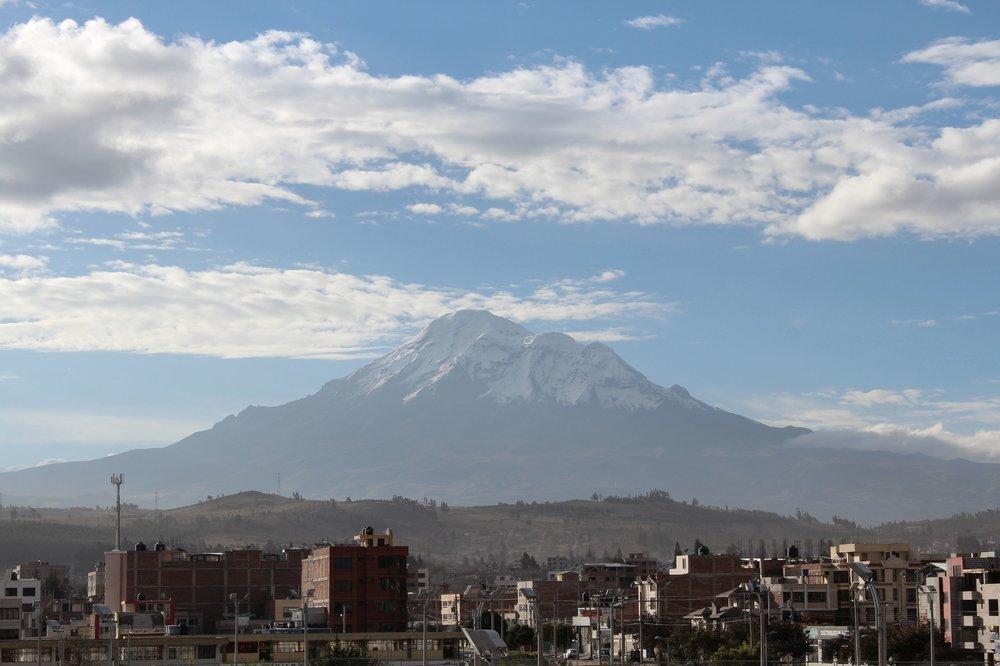 Volcan Chimborazo vue de Riobamba, Chimborazo, Equateur