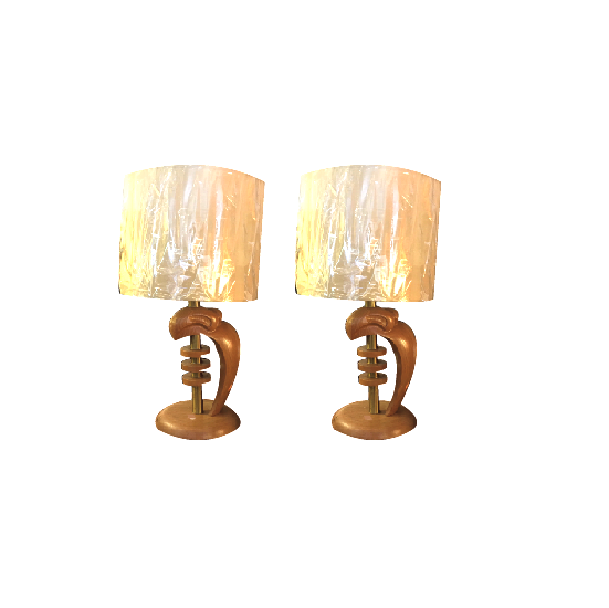 Vintage 1950s Maple and Brass Table Lamps