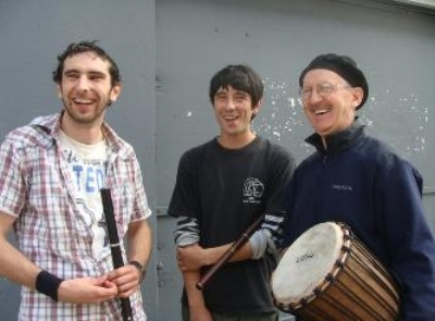 Drumming with new friends in Galway