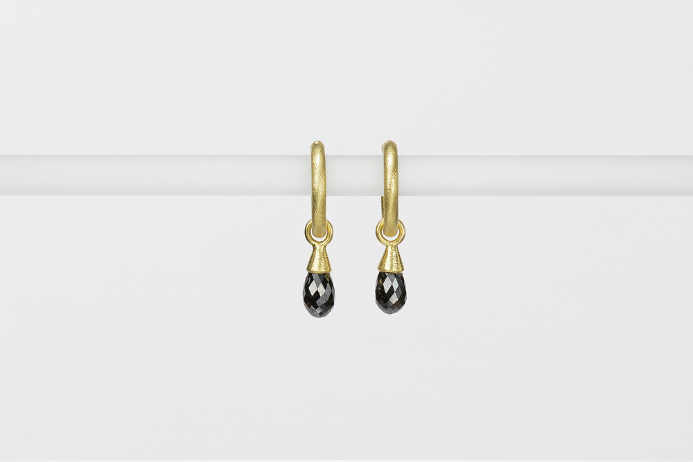black diamond briolette drops . 18ky gold 1.77 ct tw - 1600.00 - hoops sold separately
