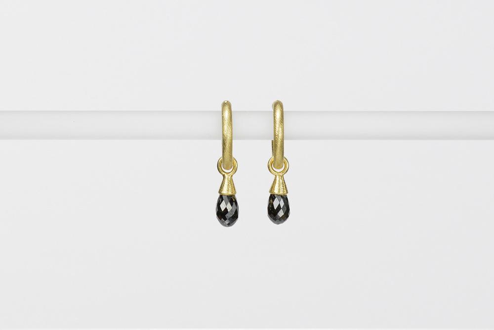 black diamond briolette drops . 18ky gold 1.77 ct tw - 1600.00