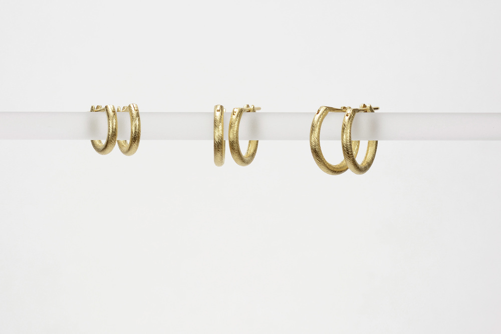 classic hoops . 18ky gold  small - 500.00   medium - 535.00   large - 570.00