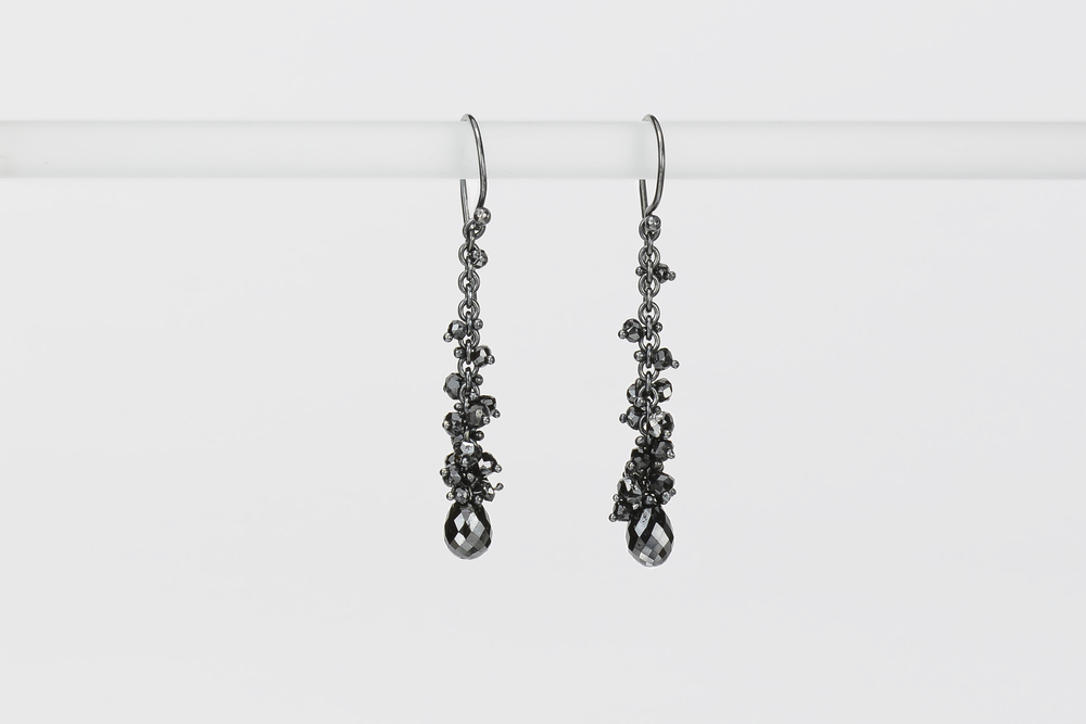 black briolettes with black diamond beads . oxidized sterling approx 6 ct tw - 2000.00