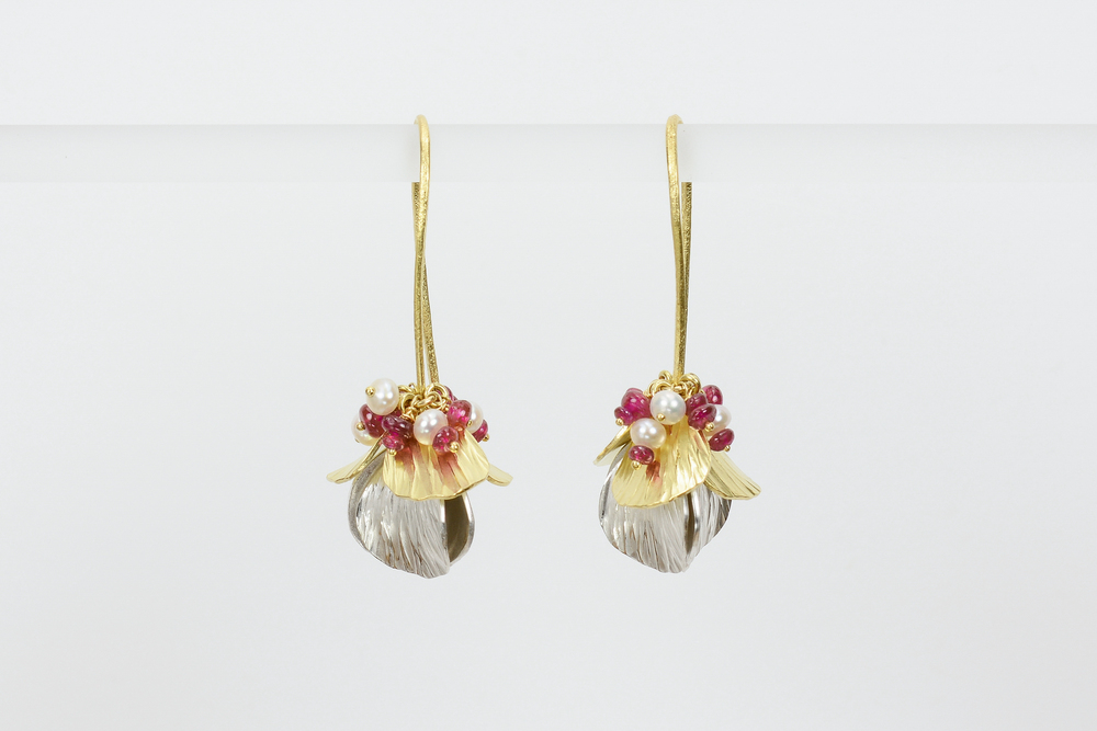 forged petals . 18ky gold sterling silver pearls and ruby beads - 1700.00