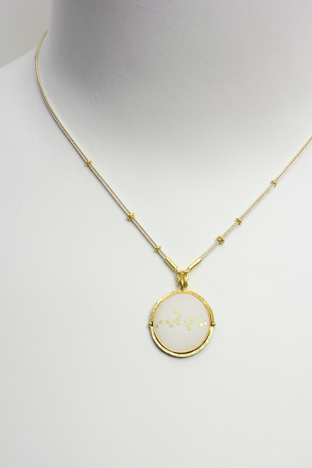 horizon enamel pendant . sterling silver and 18ky gold : (sold)