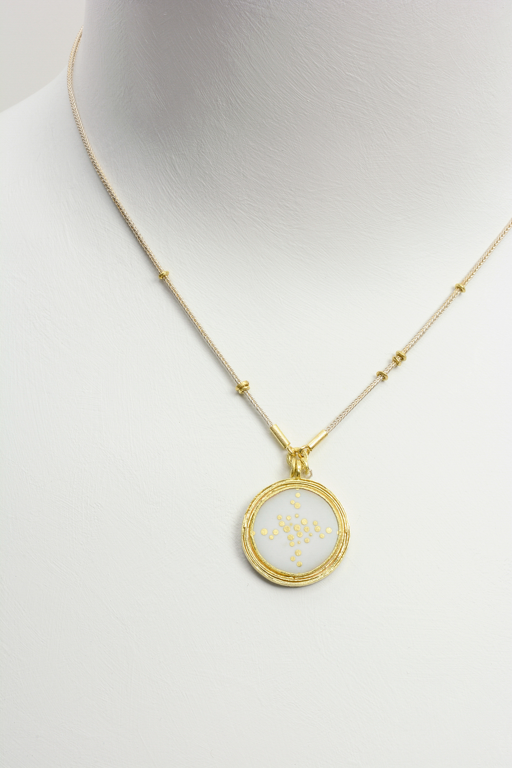 intersection enamel pendant . sterling silver and 18ky gold : (sold)