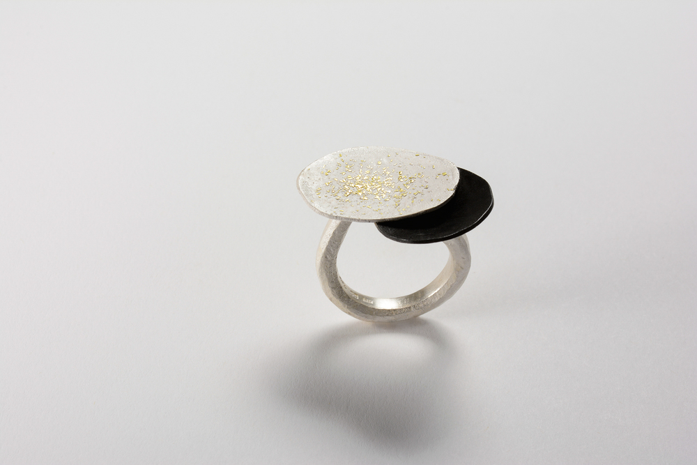 fused puddle ring . sterling oxidized sterling 18ky gold - 1400.00 (sold) another can be made