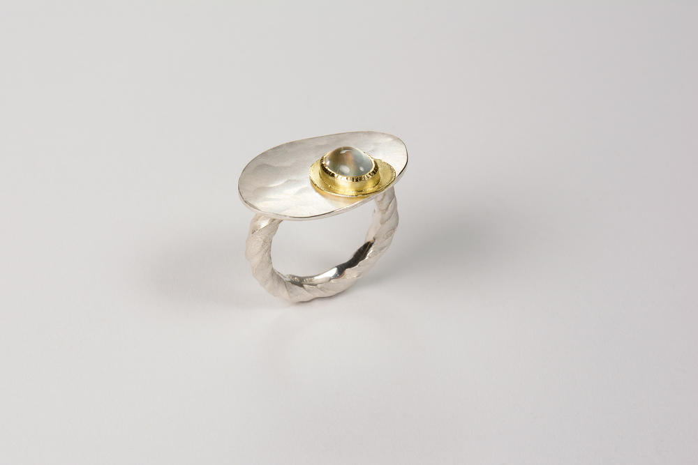 hammered puddle ring . 18ky gold sterling silver and moonstone - 1200.00