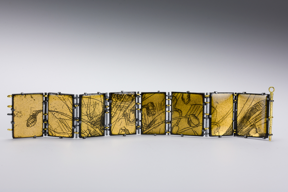 enamel bracelet front view . oxidized sterling & 18ky gold