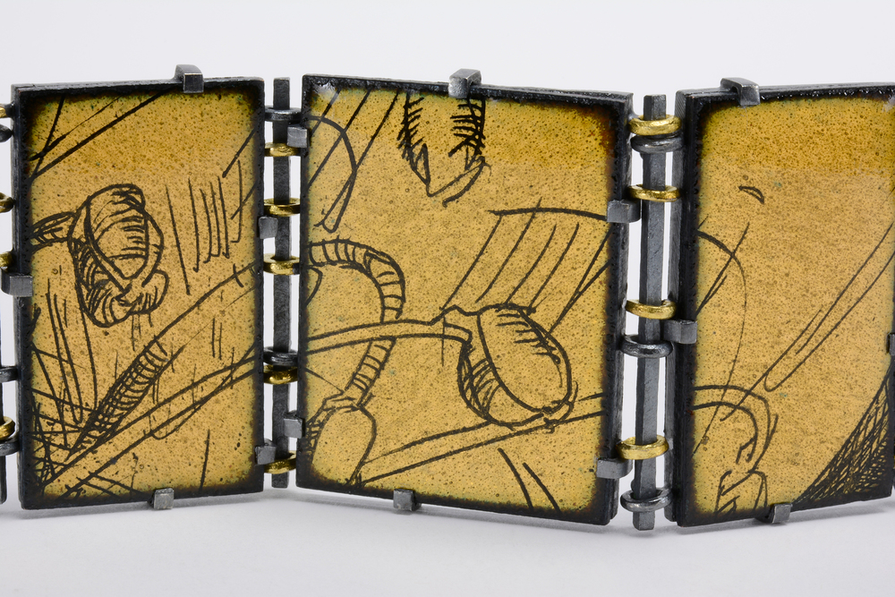 enamel bracelet detail . oxidized sterling and 18ky gold
