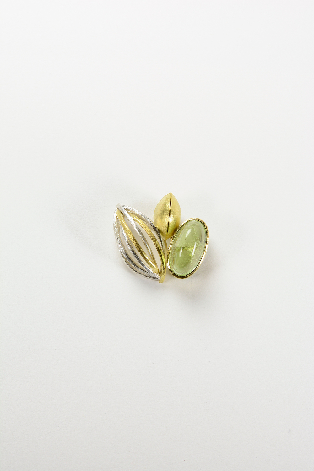tide pool pin . 18ky gold sterling silver 9.40 ct tourmaline - 1600.00
