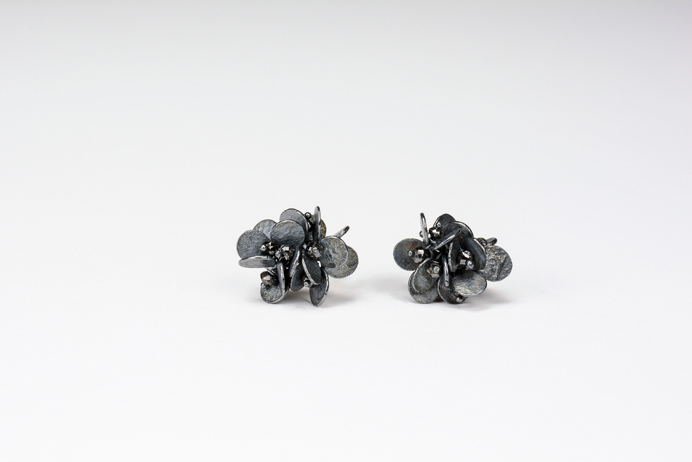 large cluster earrings . oxidized sterling approx 2 ct tw black diamond beads - 1250.00