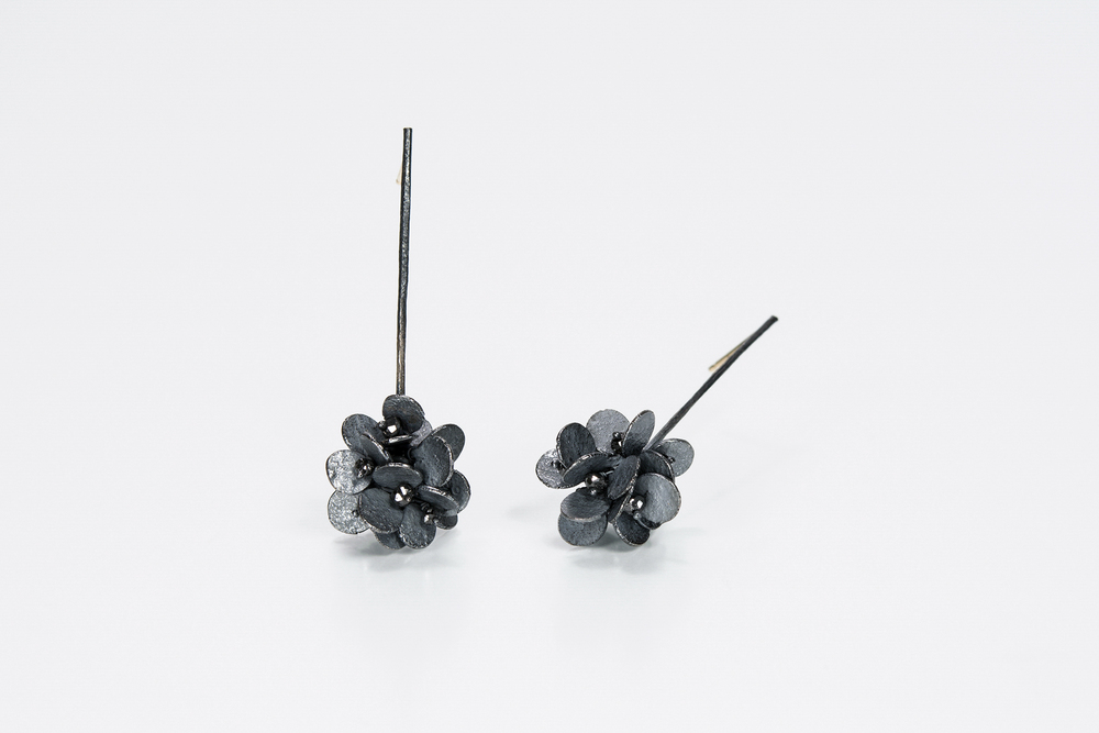 long cluster earrings . oxidized sterling approx 2 ct tw black diamond beads - 1200.00