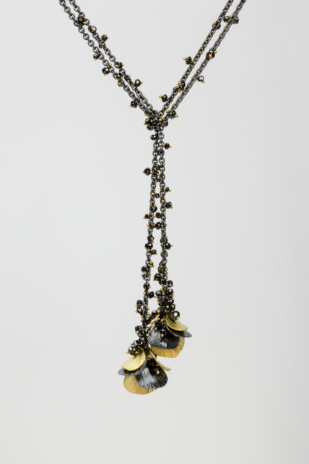 rain chain . oxidized sterling 18ky gold with approx 10 ct tw black diamond beads - 4000.00 (sold) another can be made, similar, but not the same