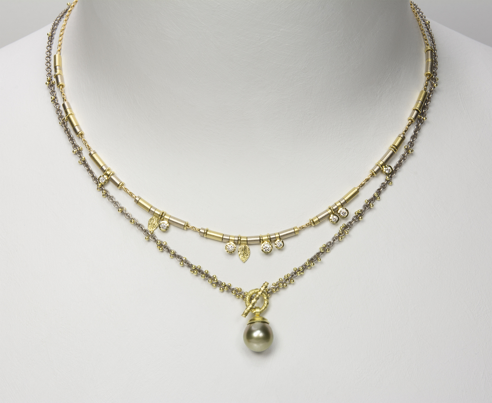 Tahitian pearl toggle . 18ky gold and grey sterling silver chain - 2600.00 - shown with 8 diamond drop all gold necklace