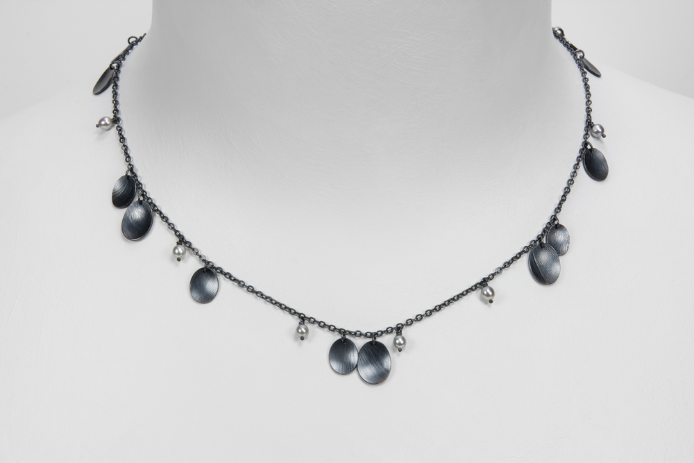 single chain feather necklace - oxidized sterling and pearls - 600.00