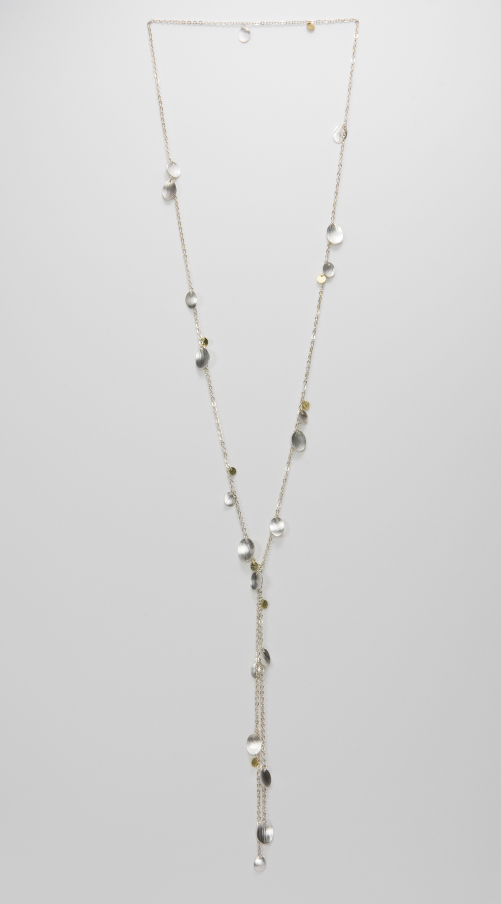 long Y feather necklace - sterling silver and 18ky gold - 950.00