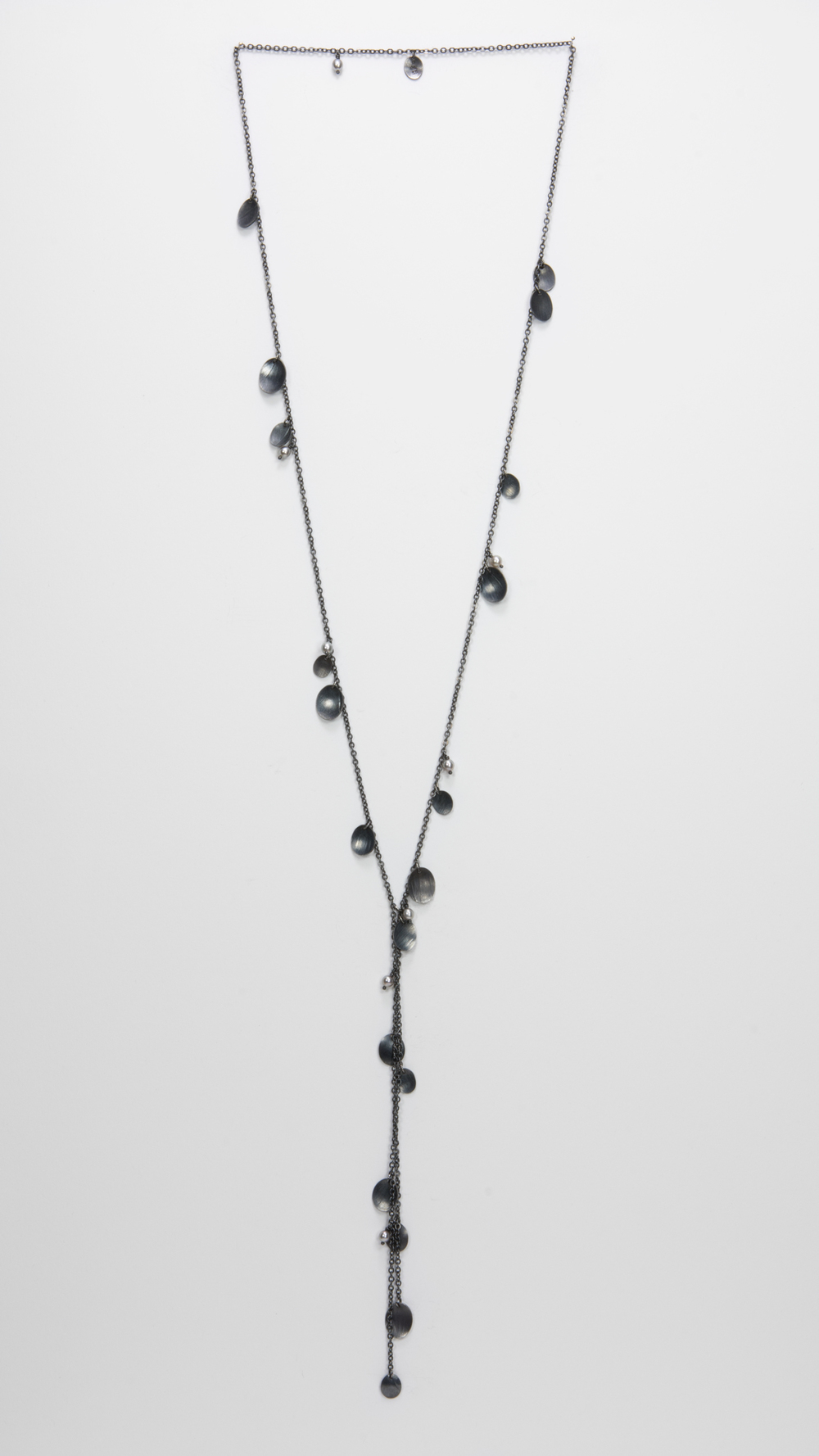 long Y feather necklace - oxidized sterling and pearls - 800.00