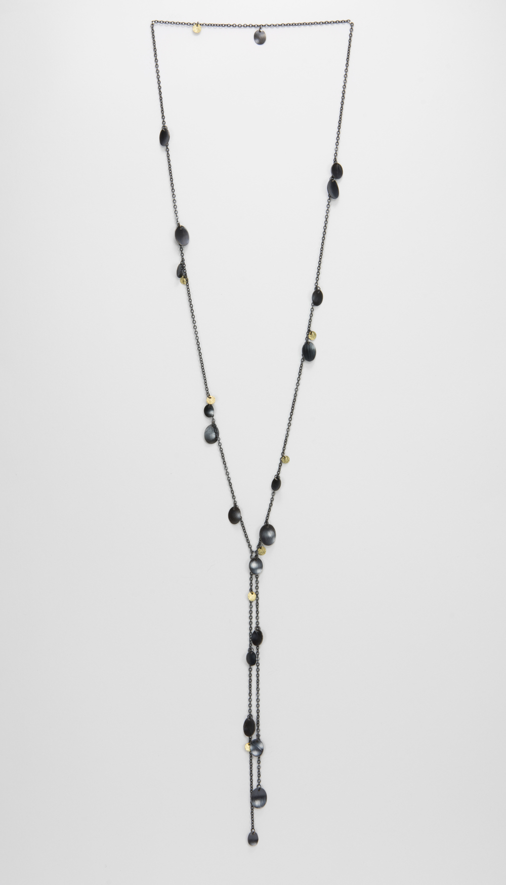 long Y feather necklace - oxidized sterling and 18ky gold - 1000.00