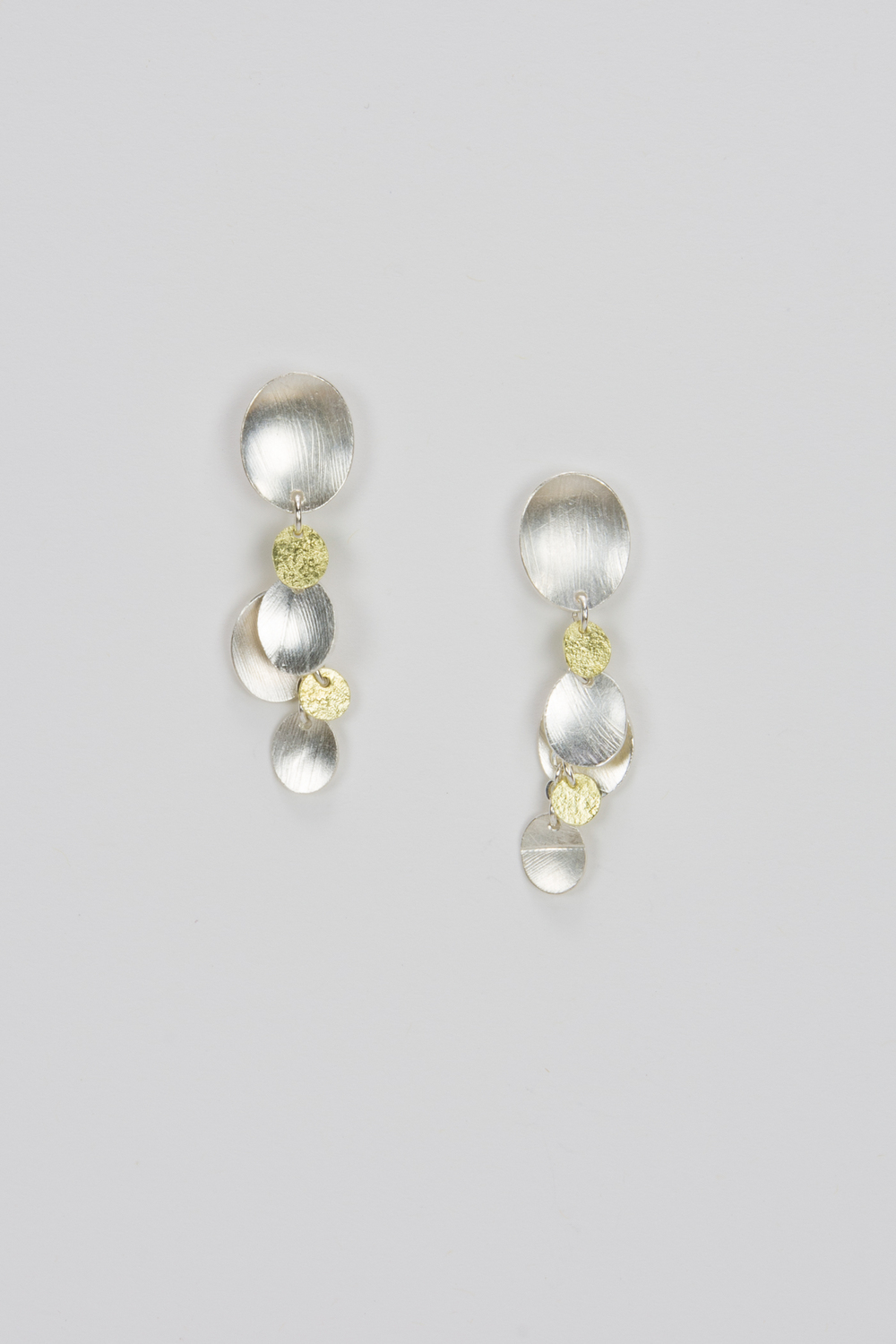 short dangle post earring - sterling silver and 18ky gold - 500.00