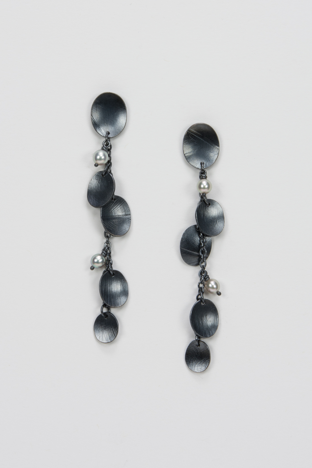 medium dangle post earring - oxidized sterling and pearls - 460.00