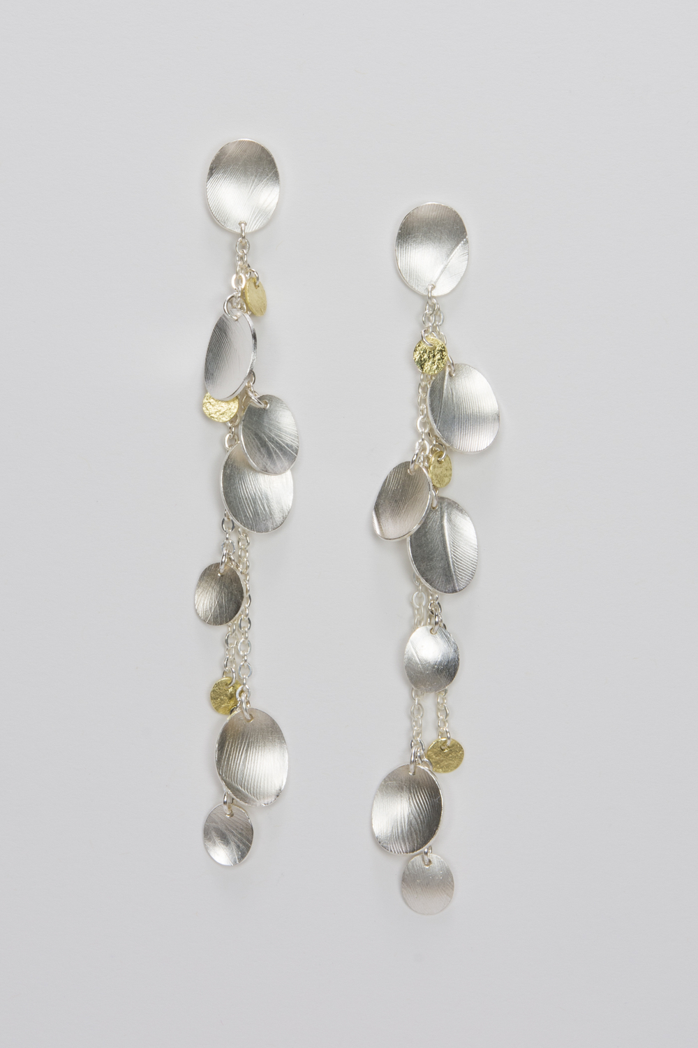 long dangle post earrings - sterling silver and 18ky gold - 740.00
