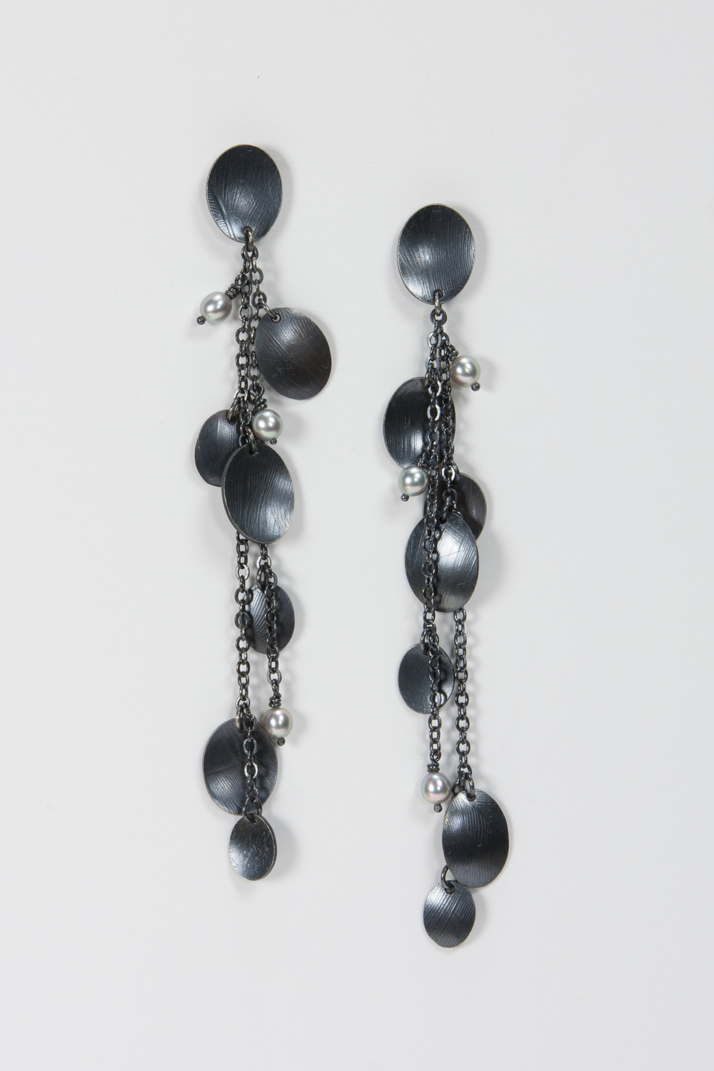 long dangle post earring - oxidized sterling and pearls - 600.00