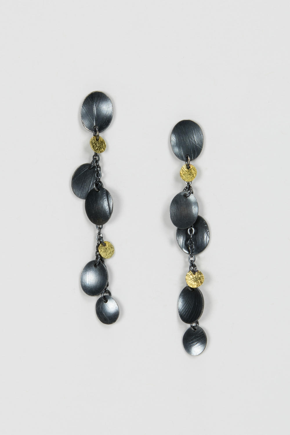 medium dangle post earrings - oxidized sterling and 18ky gold - 580.00
