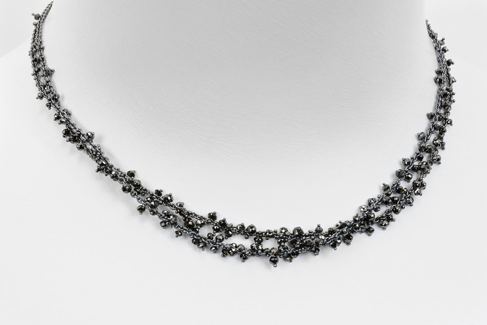 2 black diamond bead necklaces shown together