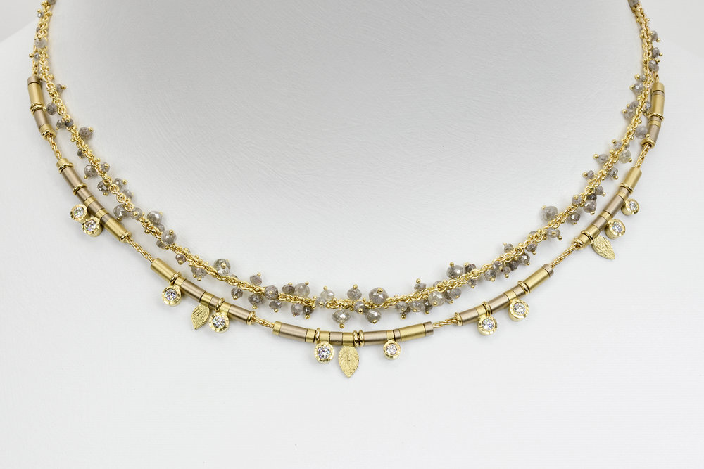 10 diamond drop all gold necklace with grey diamond beads in a gold chain
