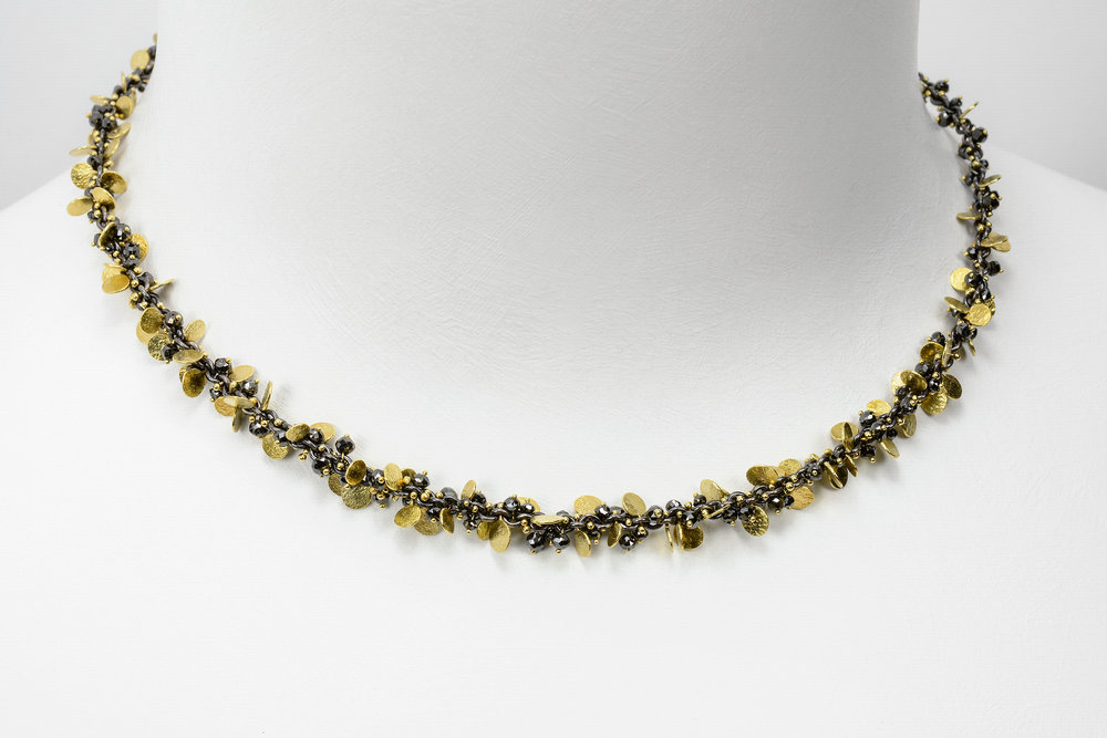 gold and oxidized sterling with black diamond beads