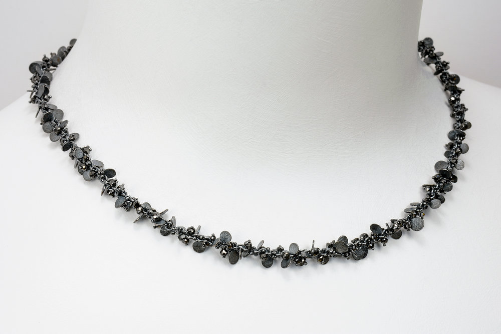 beads and flats necklace - oxidized sterling and faceted black diamond beads approx 12 ct tw - 4200.00
