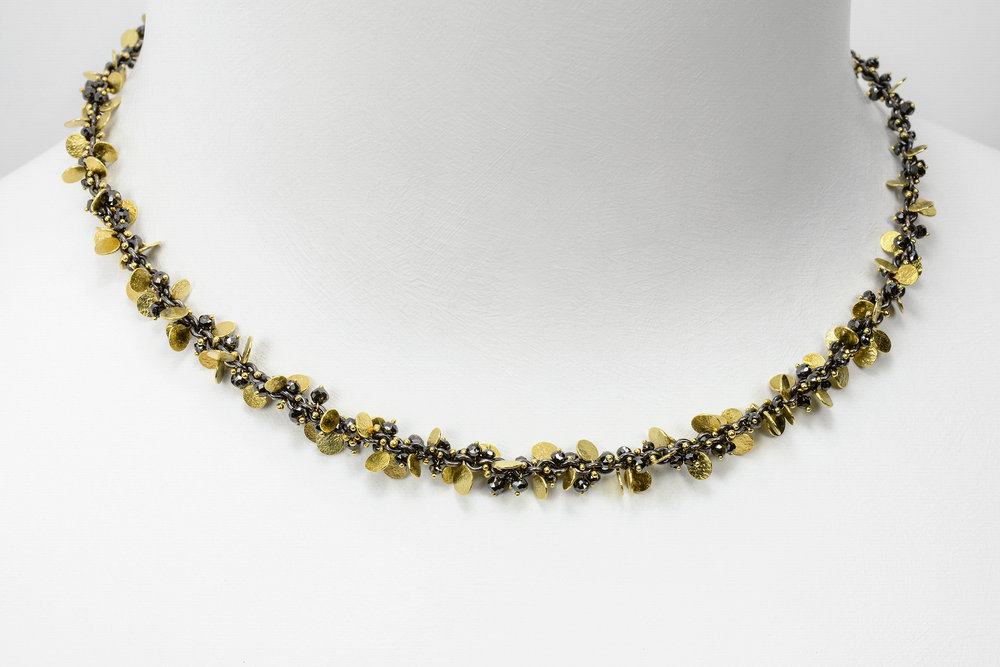 beads and flats necklace - 18k y gold and oxidized sterling and faceted black diamond beads approx 13.5 ct tw - 8000.00