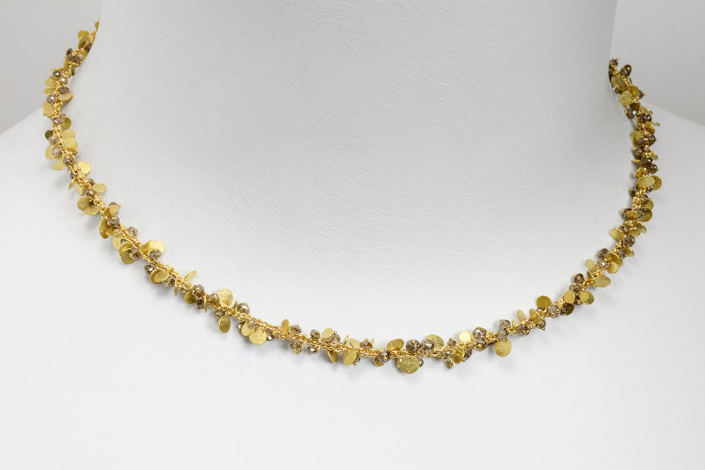 beads and flats necklace - 18ky gold and faceted brown diamond beads on a 14ky gold chain approx 13 ct tw 11,000.00