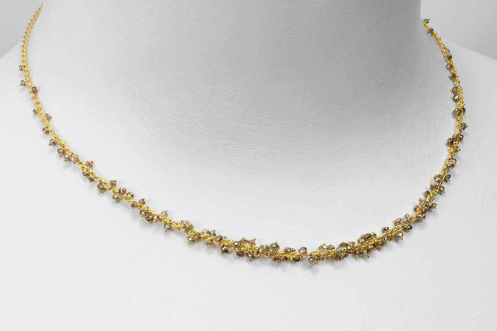brown diamond bead necklace - faceted brown diamond beads attached with 18ky gold on a 14ky gold chain - approx 13 ct tw - 5,500.00