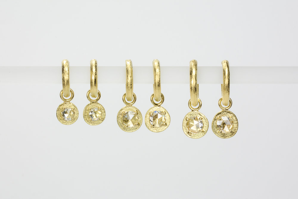 rose cut diamonds . small .20 ct tw - 1200.00 medium .26 ct tw - 1320.00 large .54 ct tw - 3130.00 - hoops sold separately