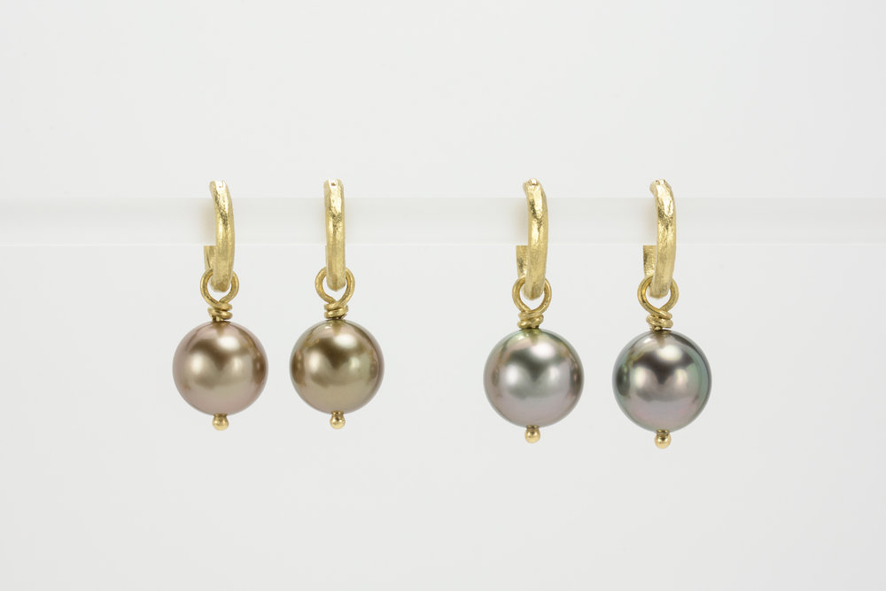 Tahitian pearls . 18ky bronze 9.6 mm - 850.00 grey 10.5 mm - 850.00
