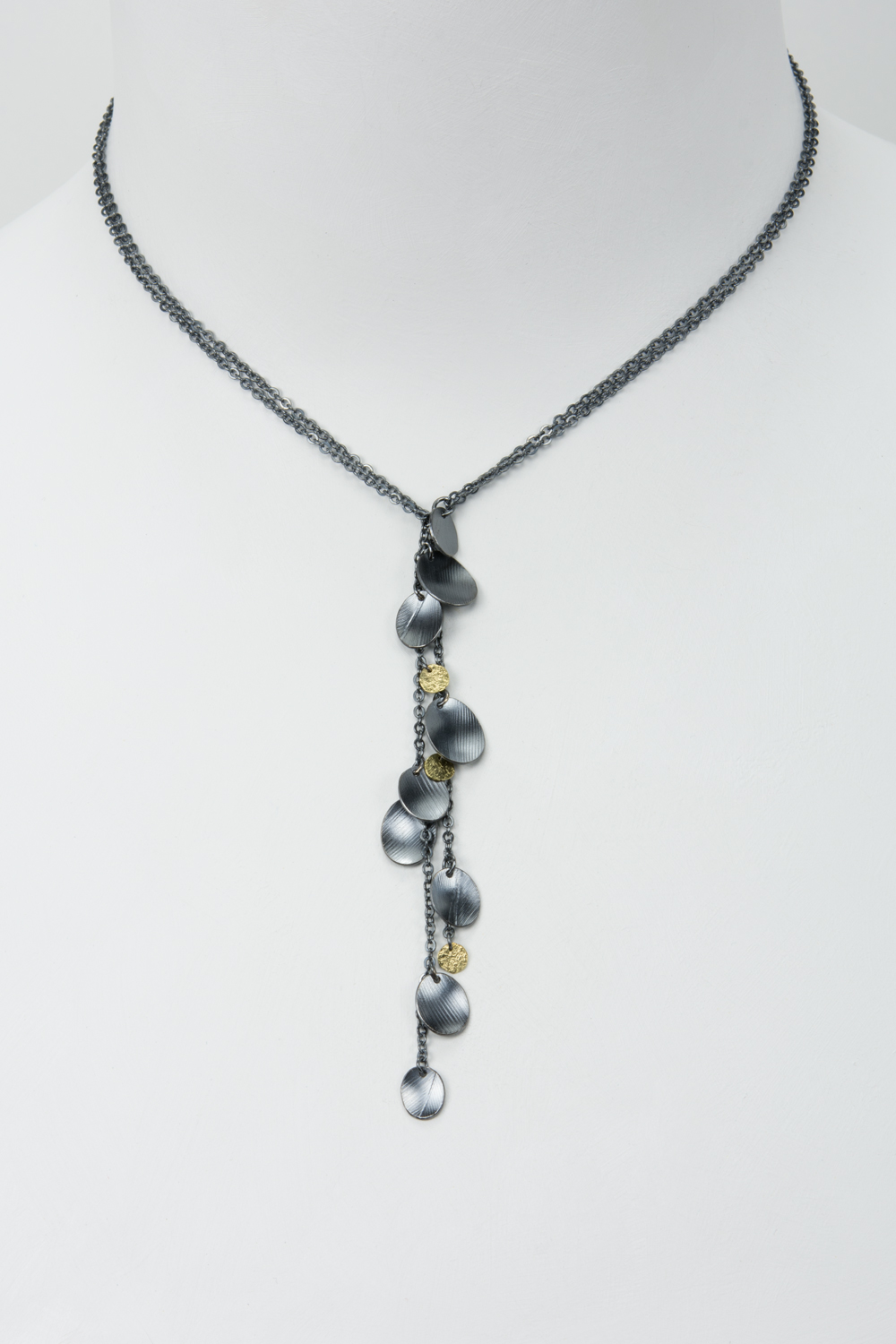 lariat feather necklace - oxidized sterling and 18ky gold - 500.00