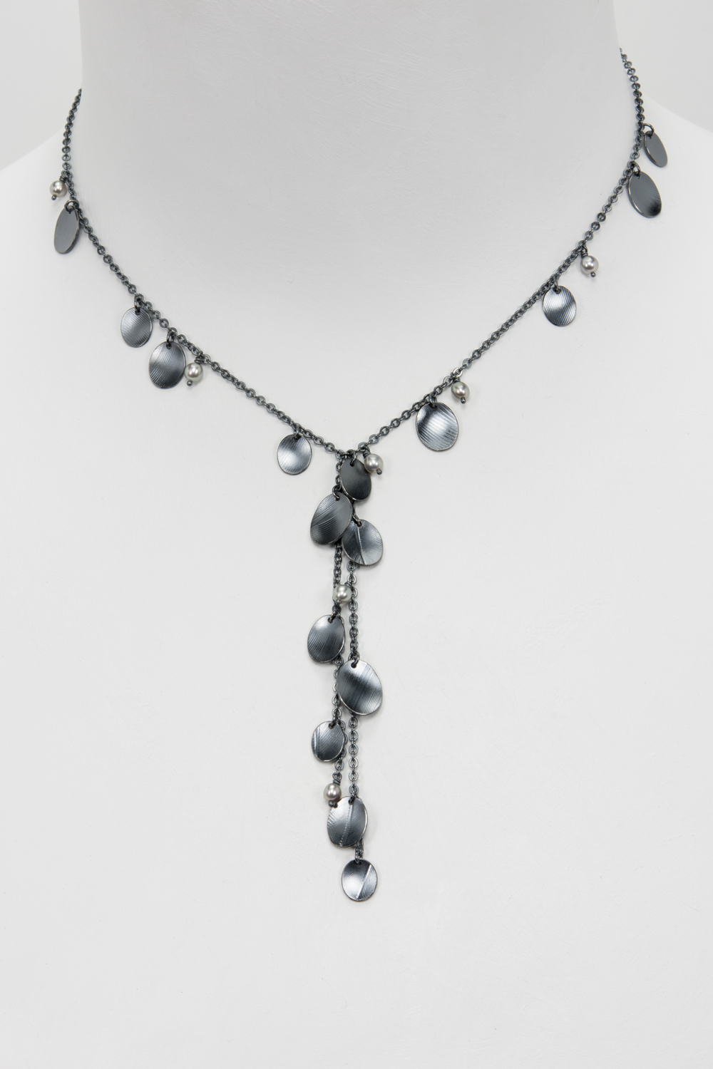short Y feather necklace - oxidized sterling and pearls - 680.00