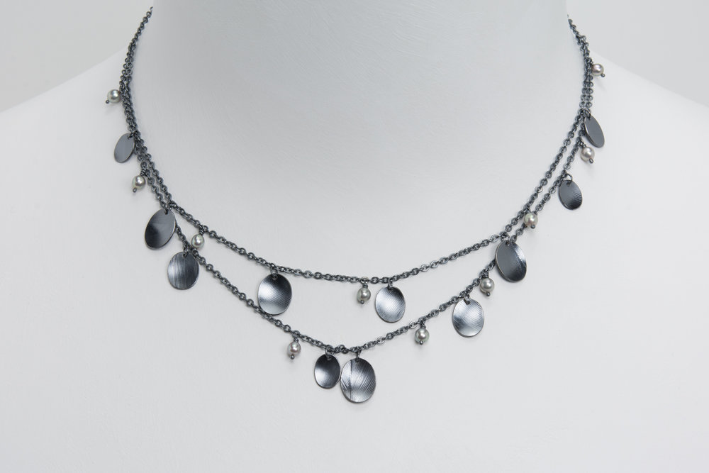 double chain feather necklace - oxidized sterling and pearls - 650.00