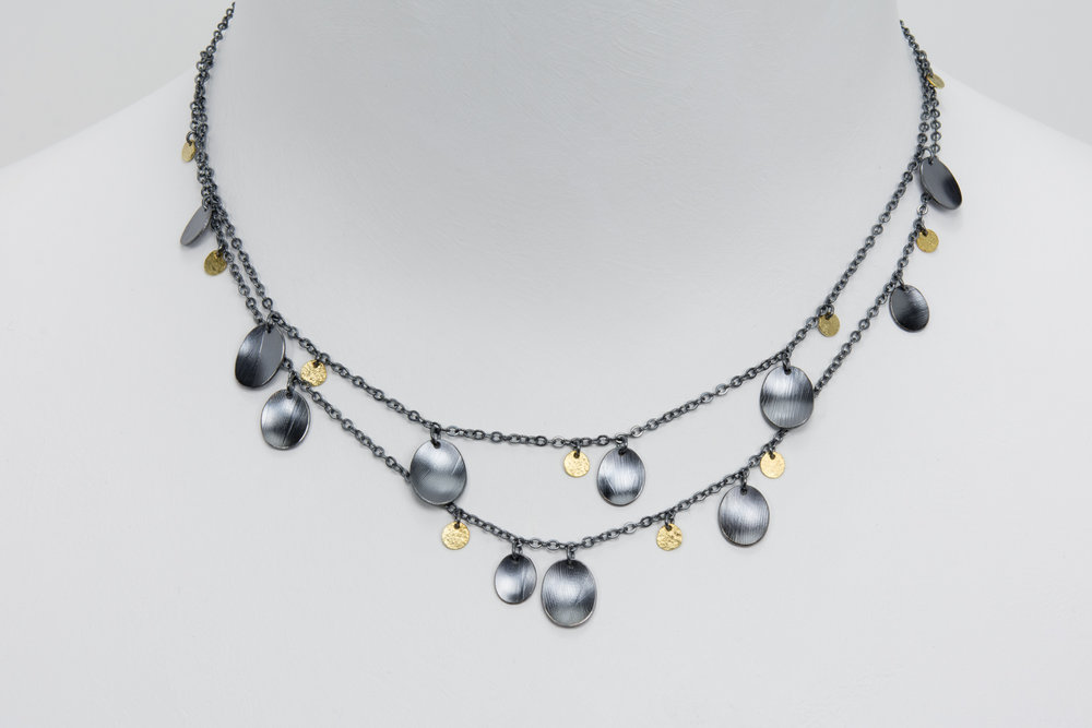 double chain feather necklace - oxidized sterling and 18ky gold - 940.00