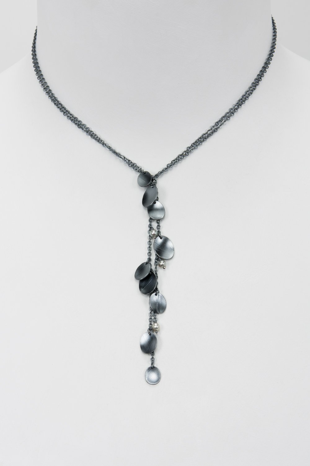 lariat feather necklace - oxidized sterling and pearls - 400.00