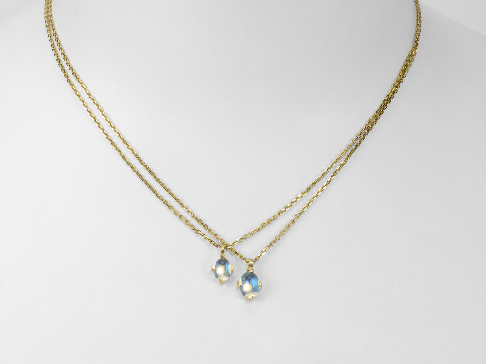 blue moonstones on gold chain