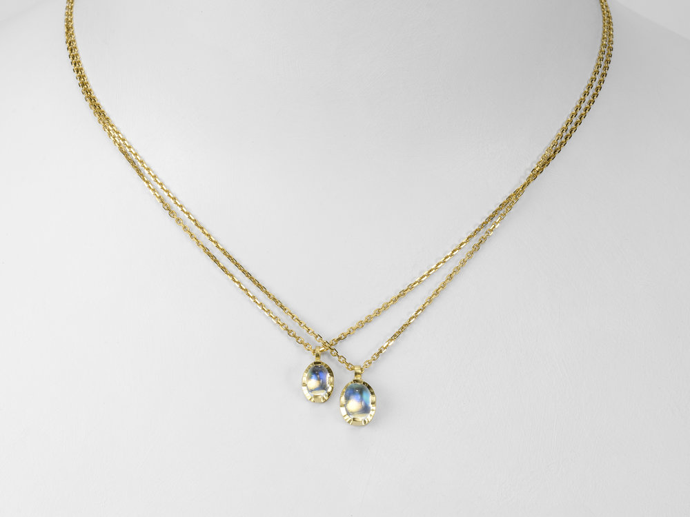 hammered halo moonstones on gold chain