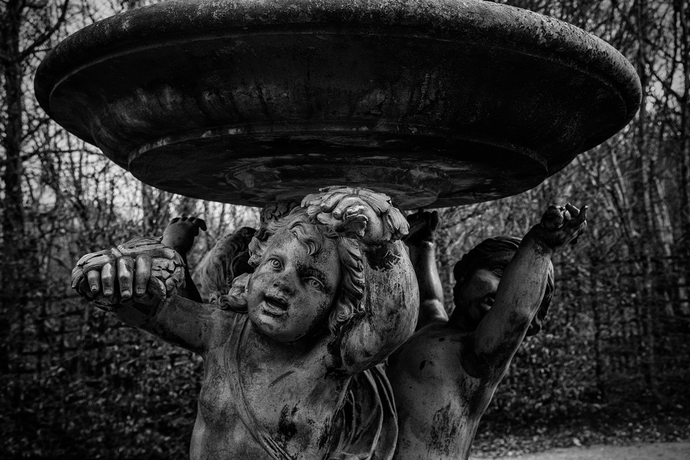 An image made on a very cold (freezing) afternoon in the garden of Versailles. This is one of the very few pieces that are not covered for protection. It is incredible to see the expression on these statues. An amazing work of sculpture.    Camera: Fujifilm X100s
