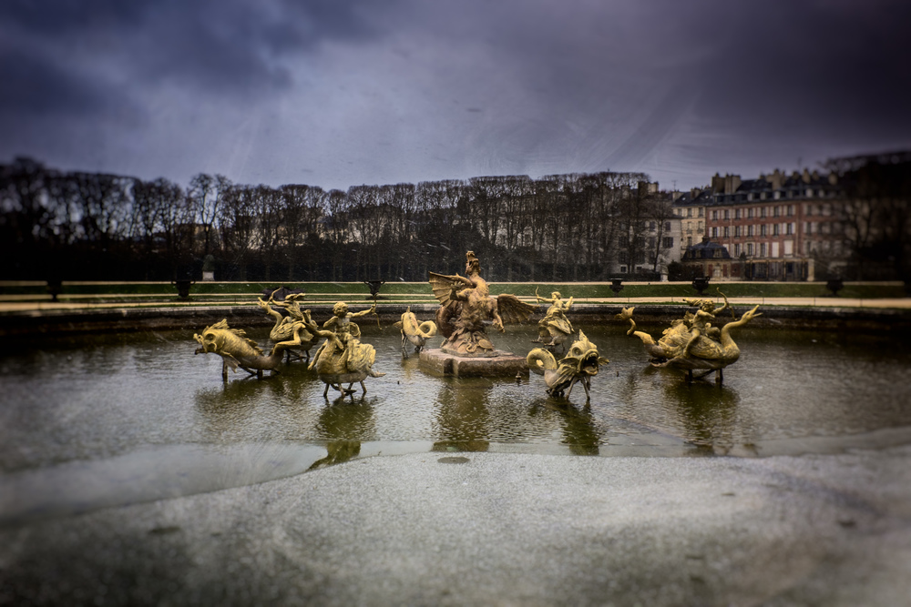 A cold and snowy day in the garden of Versailles. Image made with my Fuji X100s and processed in Lightroom 5